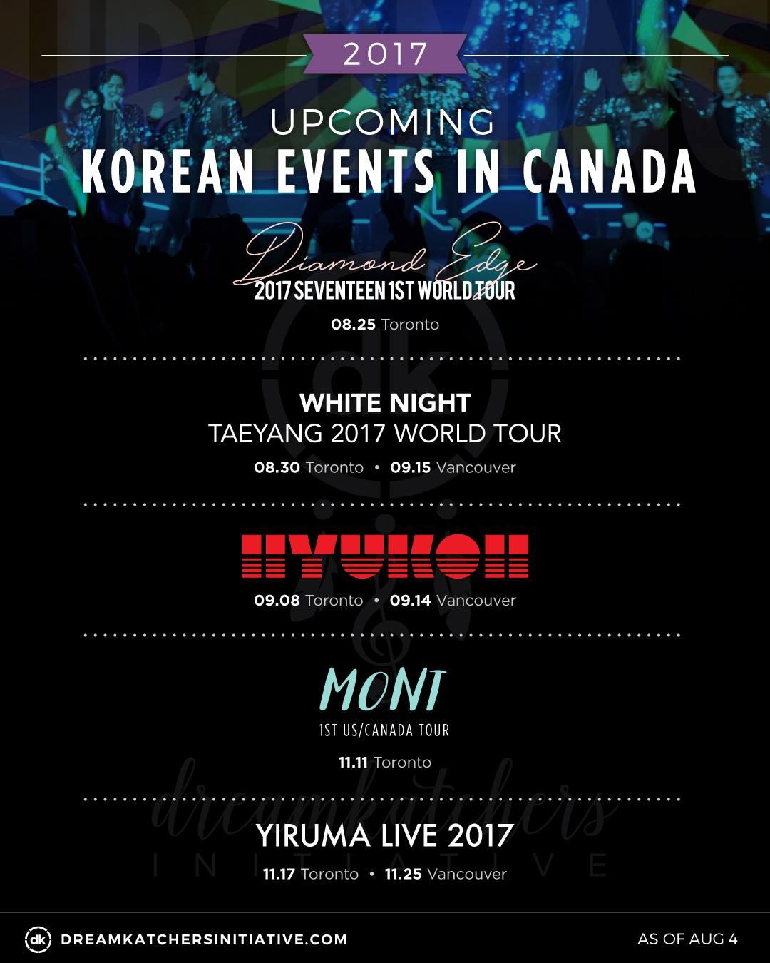 Dreamkatchers Initiative | 8/4 update of upcoming korean events in Canada!
