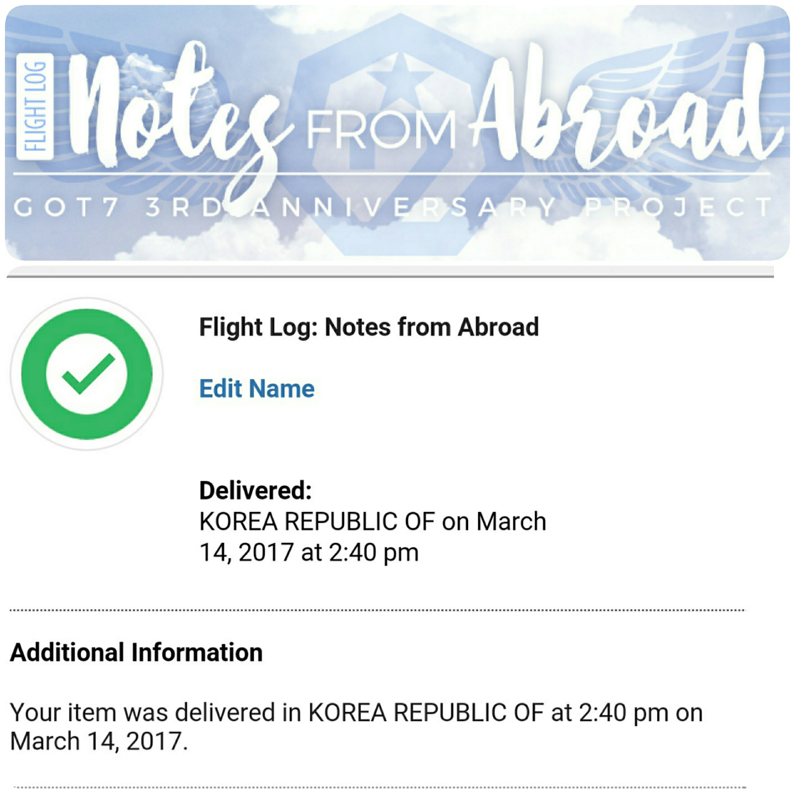 Flight Log: Notes from Abroad Fan Project delivered