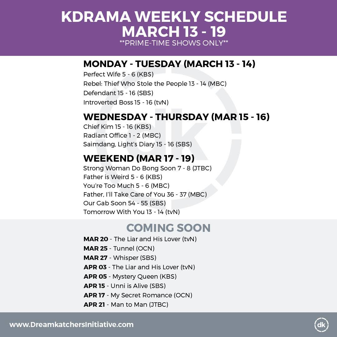 KDRAMA WEEKLY SCHEDULE
